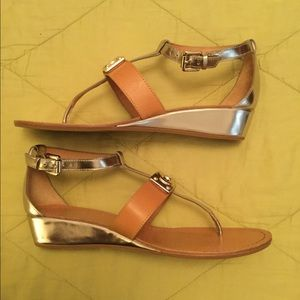 Authentic Coach Metallic Wedge Sandals, size 7M.